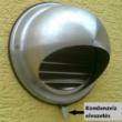 Fém szellőzőrács esővédő előlappal, csőcsonkkal 150 mm