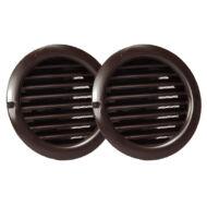 Műanyag barna szellőzőrács rovarhálóval 80mm/ 2db