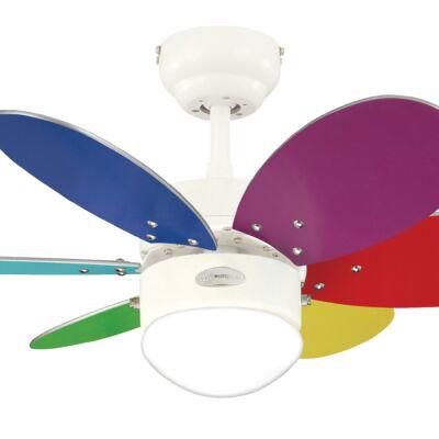 Mennyezeti ventilátor Westinghouse Turbo II fehér, színes, fenyőfa