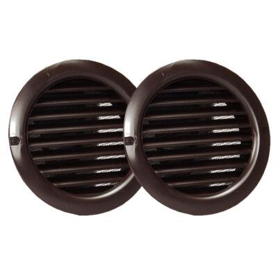 Műanyag barna szellőzőrács rovarhálóval 50mm/ 2db