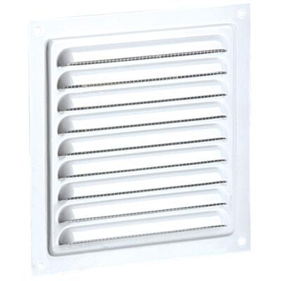 Fehér fém szellőzőrács rovarhálóval 200x200 mm