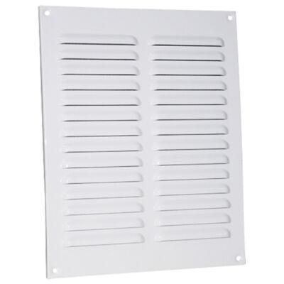 Fehér fém szellőzőrács rovarhálóval 195x245 mm