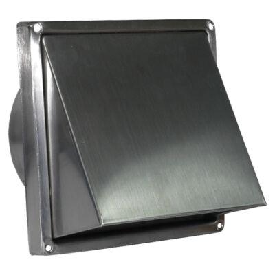 Fém szellőzőrács esővédő előlappal, csőcsonkkal 125 mm