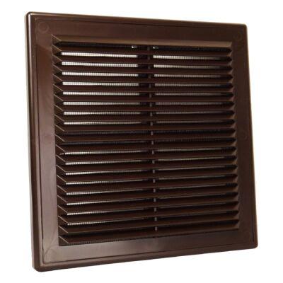 Műanyag barna szellőzőrács rovarhálóval 204x204 mm